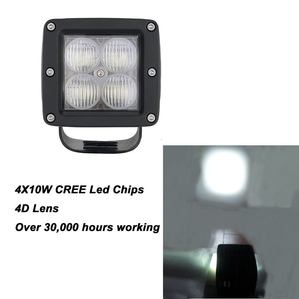 1pc 40w 3x3 Inch 4d Led Pods 4pcs 10w Led Work Light 40w High Intensity 3600lm Flodd Beam For Suv Boat Lamp Led Work Light Cree Led Beams