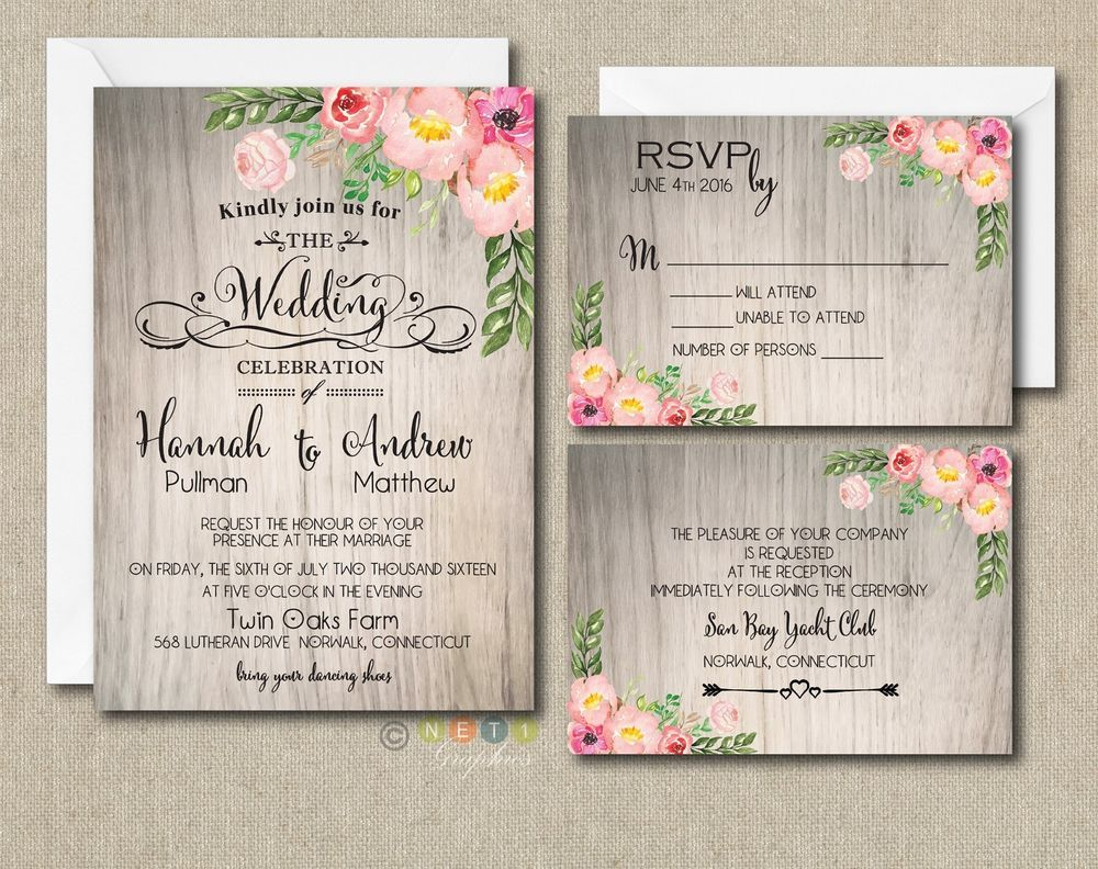 Details about 100 Personalized Watercolor Rustic Floral Botanical ...