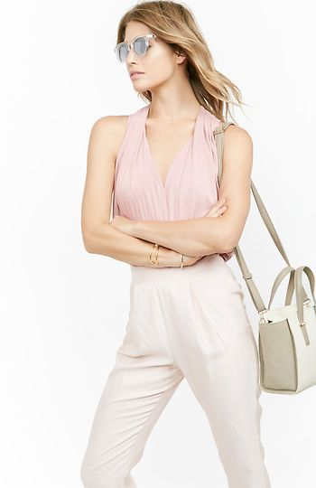 Bardot Pleated Modal Blend Blouse in Blush L | DAILYLOOK
