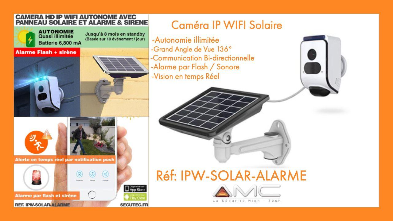 Camera Solaire Wifi Hd 720p Avec Alarme Flash Et Sirene En Cas De