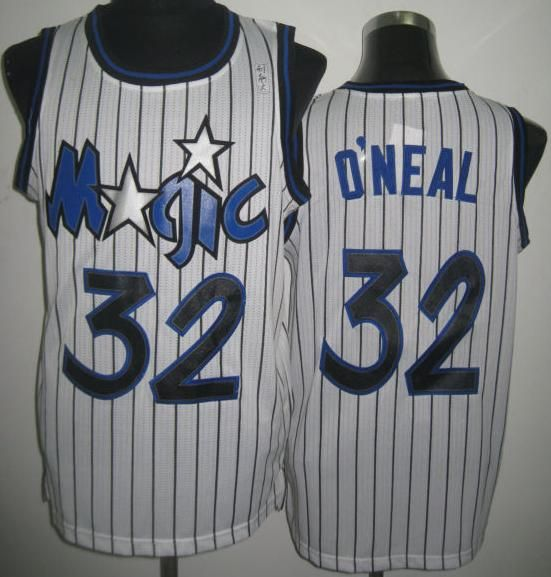 best service a6bfd 90b50 Orlando Magic 32 Shaquille O'Neal White Throwback Revolution ...