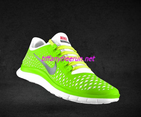 new styles 7a11e 75c04 Womens Nike Free 3.0 V4 Liquid Lime Reflective Silver White Fluorescent  Yellow Lace Shoes