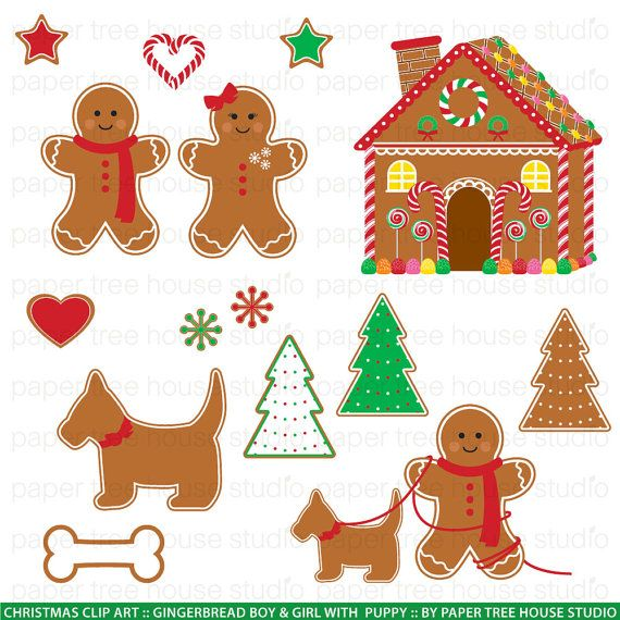 Christmas Clip Art Gingerbread Man by papertreehousestudio, $4.75 ...