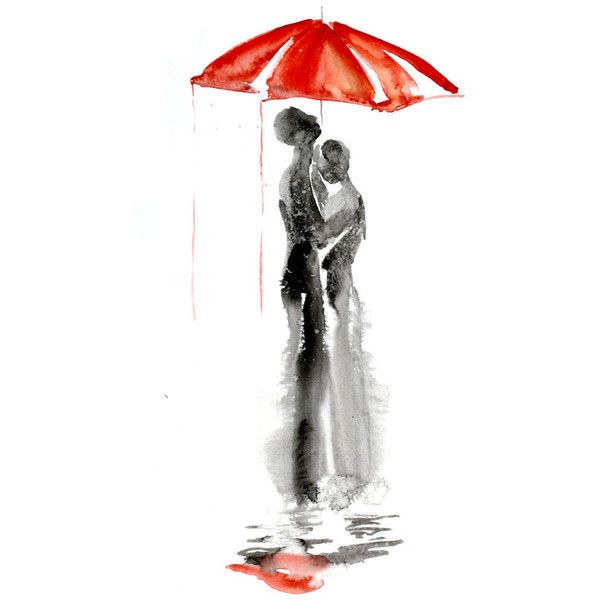 Abstract watercolor painting of Love under the rain, Love art, Red umbrella watercolor painting 13 x 19 inch by Elena Romanova found on Polyvore    ...BTW,Please Check this out:  http://artcaffeine.imobileappsys.com