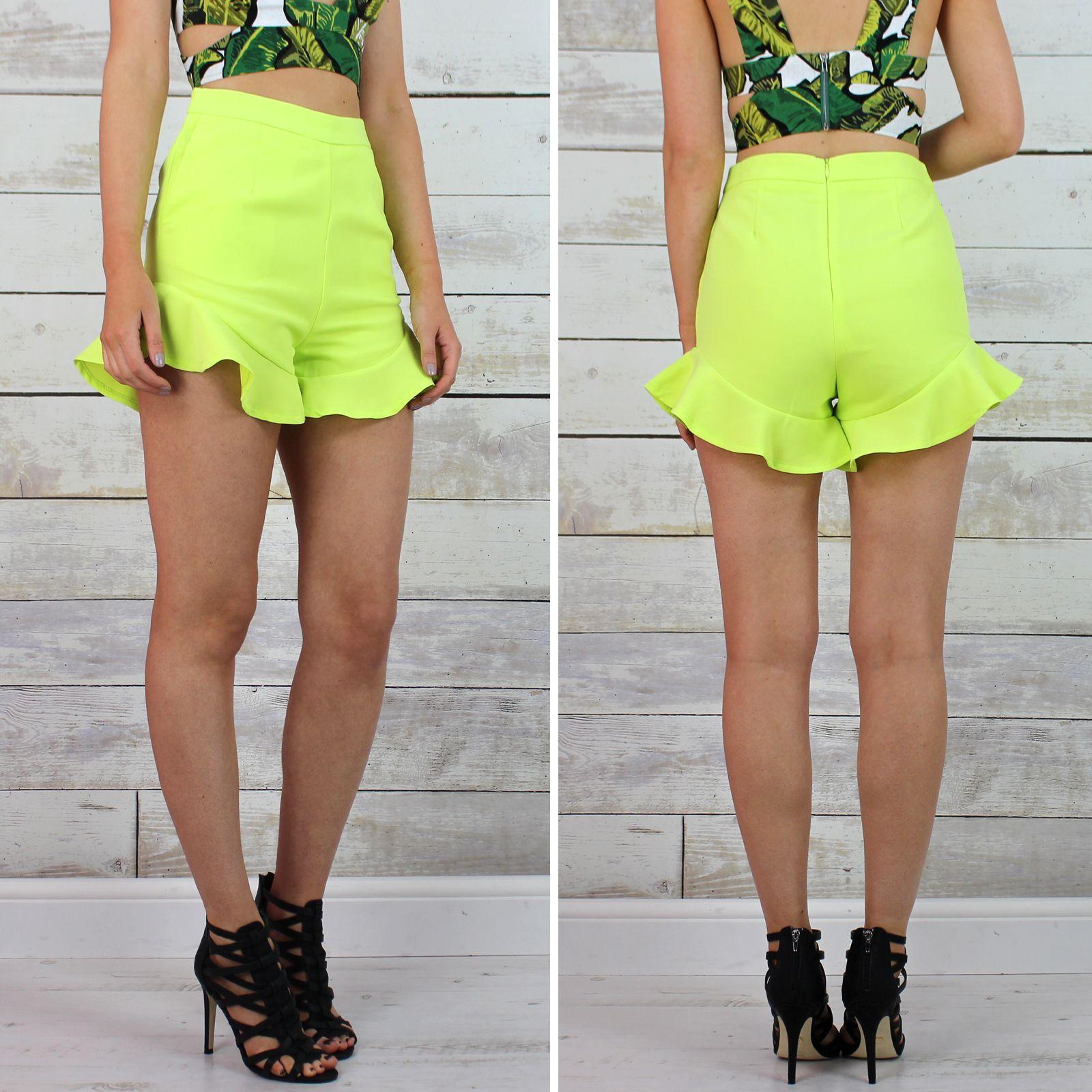 Women's Lavish Alice Lime Green High Waisted Frill Hem Shorts ...