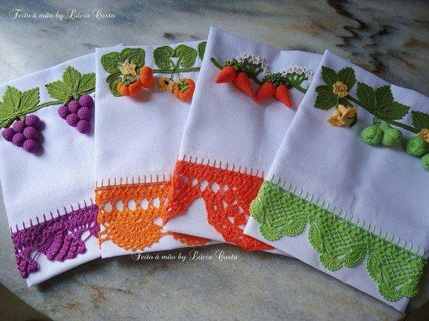 Modelos de puntillas para aplicar a paños de cocina o toallas | Manualidades