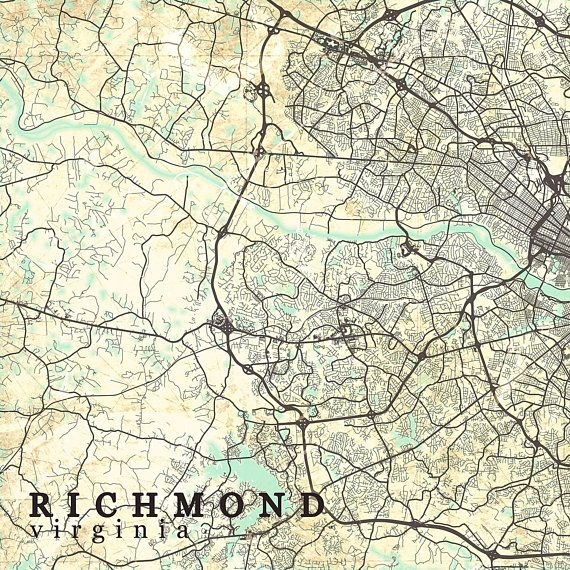 RICHMOND VA Canvas Print Virginia Va Vintage map Richmond Va City