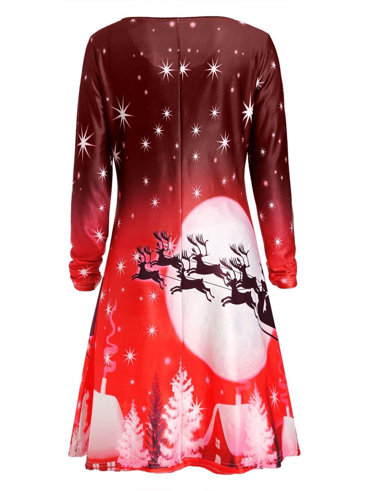 Christmas Deer Long Sleeve Dress Blue Green Purple Red Sage Green Sponsored Sleeve Dress Long Sleeve Dress Christmas Dress Women A Line Cocktail Dress [ 1596 x 1200 Pixel ]