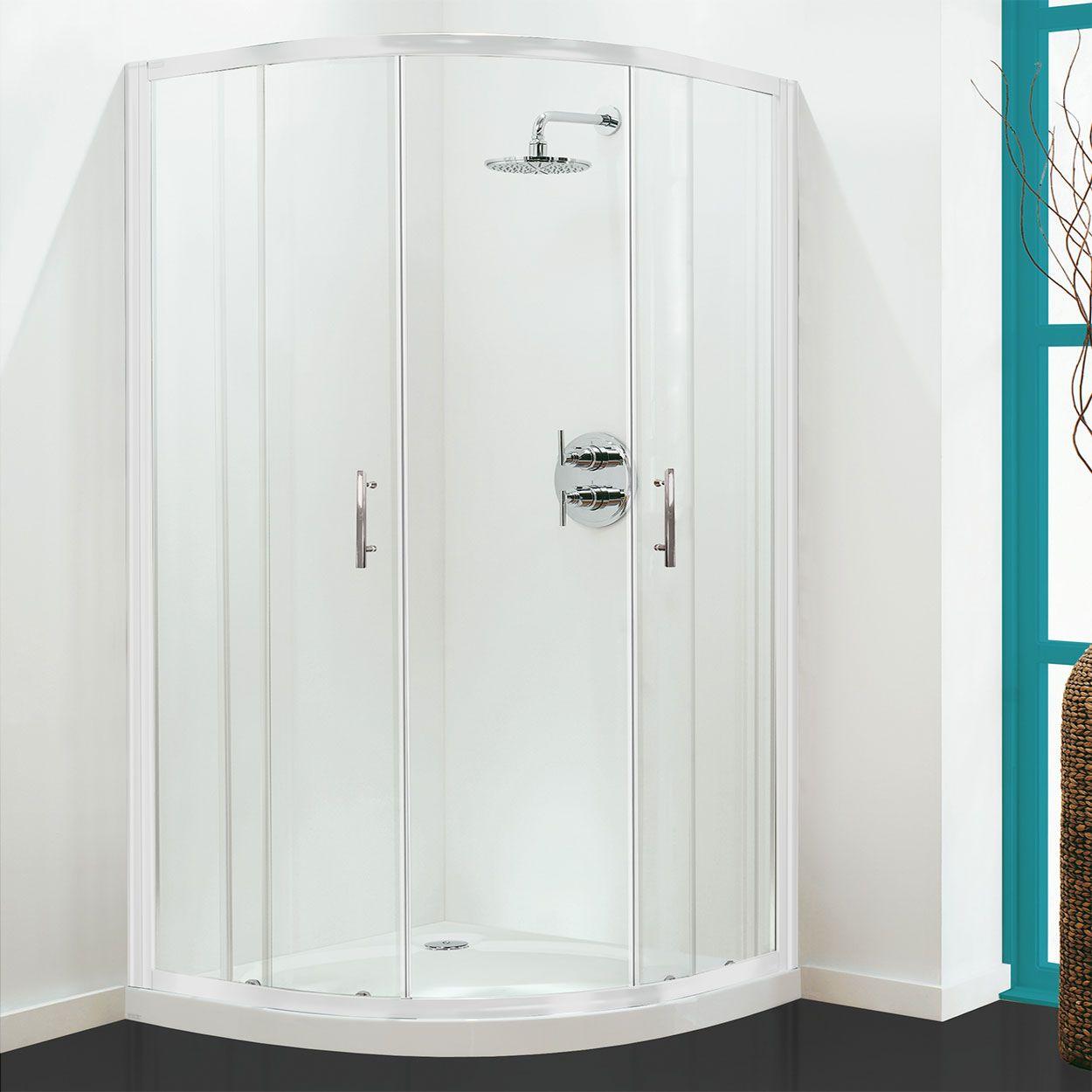 Coram Optima White Frame Quadrant Shower Enclosure 900mm X 900mm 6mm Plain Glass Quadrant Shower Enclosures Shower Enclosure Quadrant Shower