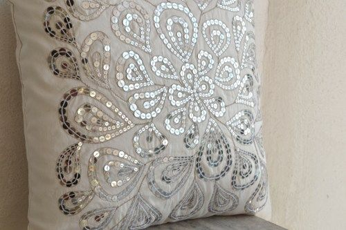 Ivory White Decorative Pillow With Silver Sequin Detail