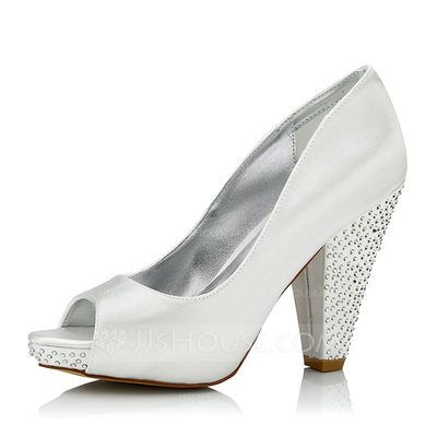 [US$ 56.99] Women's Satin Chunky Heel Peep Toe Dyeable Shoes With  Rhinestone I love these! 4 inch heels. | wedding dresses | Pinterest |  Dyeable shoes, ...