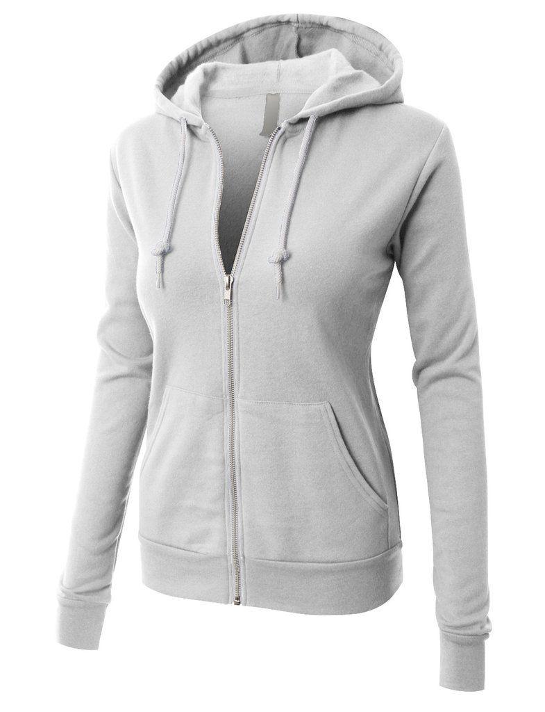 1ad17623b LE3NO PREMIUM Womens Active Soft Fleece Zip Up Hoodie Jacket