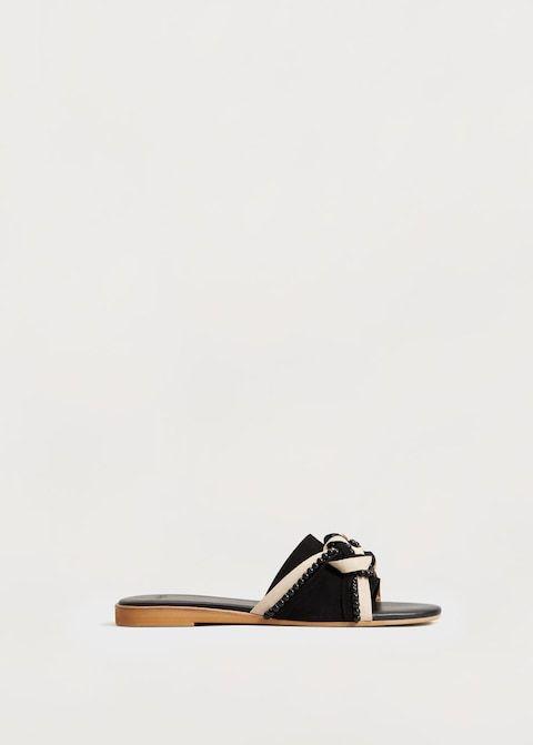 Sandalia piel abalorios