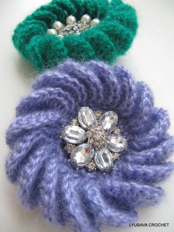 Crochet Pattern Crochet Brooch Pattern Mohair Flower Brooch Diy