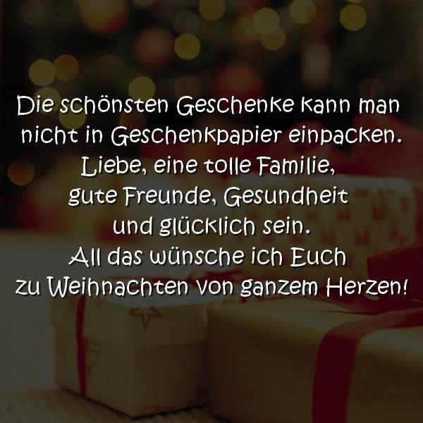 Die schönsten Geschenke kann man nicht in Geschenkpapier einpacken. Liebe, eine tolle Familie, ...