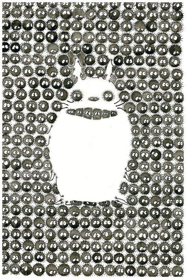 Totoro, según los susuwatari :-D http://www.deviantart.com/art/Susuwatari-X-Totoro-532387860… #FanArtGhibli