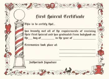 First haircut certificate pesquisa google barbearia pinterest first haircut certificate yadclub Image collections