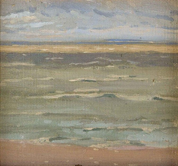 """""""Lake Winnipeg,"""" attributed to Lionel Lemoine Fitzgerald, oil on board, 6 3/8 x 7"""", private collection."""
