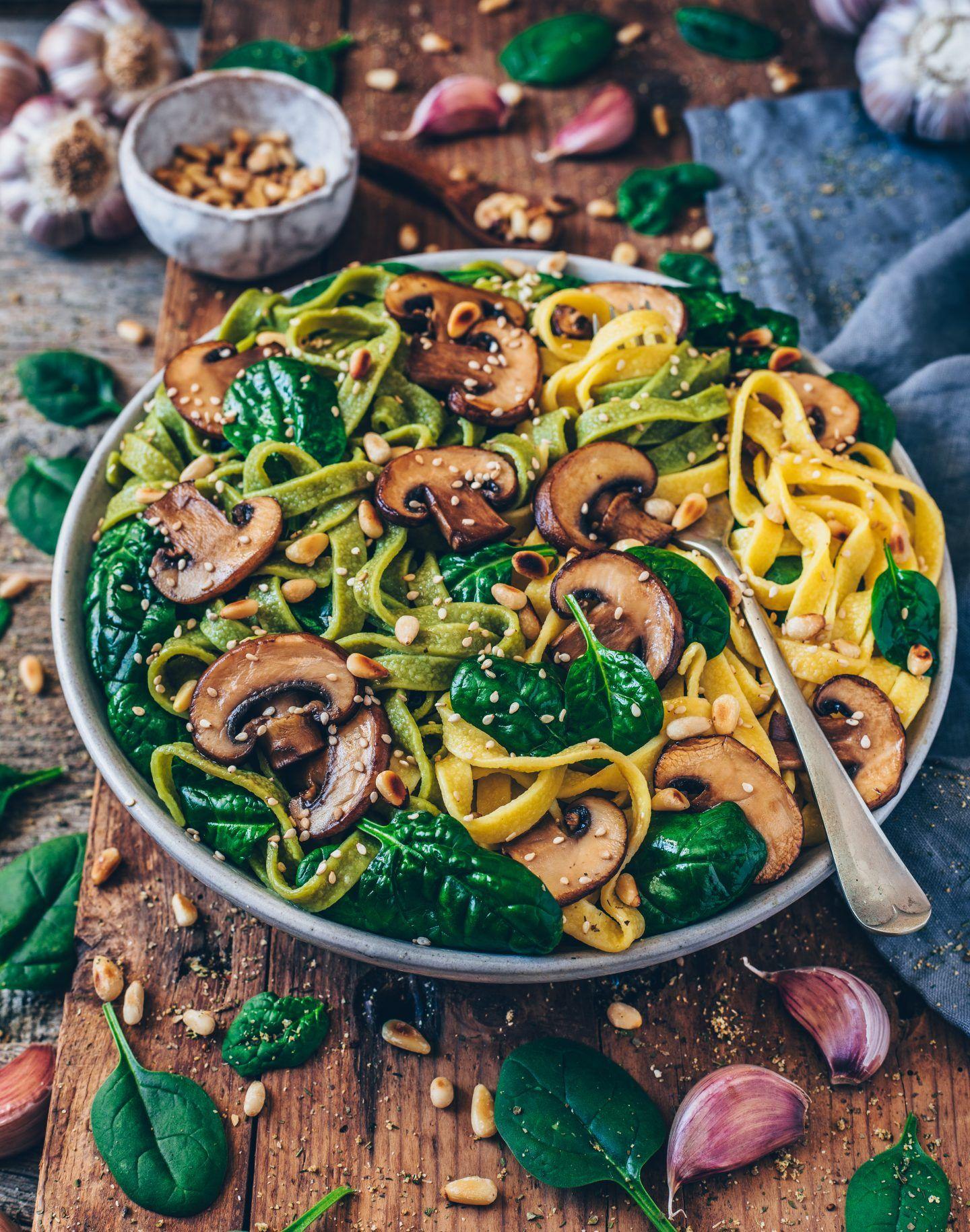 Einfache Pilz-Pasta mit Spinat (vegan) #easyrecipes