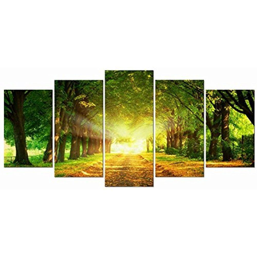 Framed] Green Landscape Trail Nature Canvas Art Print Picture Wall ...