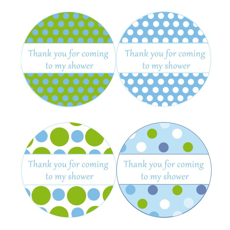 instant download blue green polka dots baby shower party thank you tags baby shower favors party favors stickers