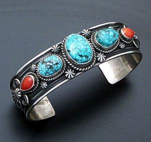 Darrell Cadman (Navajo) - Kingman Turquoise & Coral Oxidized Sterling Silver Cuff Bracelet #33147 $690.00