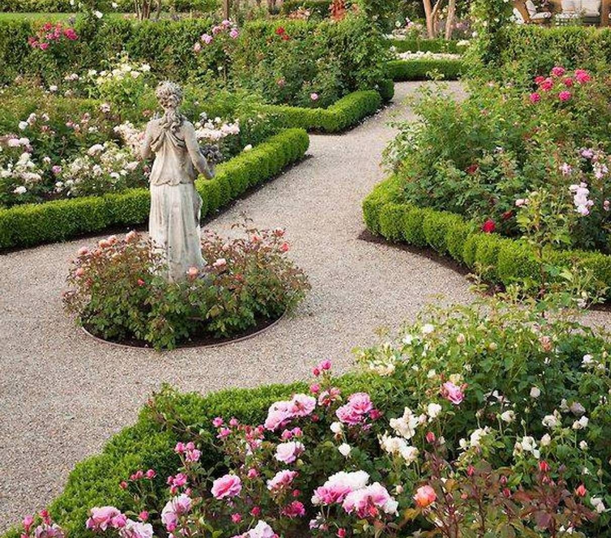 Charming Garden And Lawn , Adorable Rose Garden Design : Rose Garden Design With  Statue