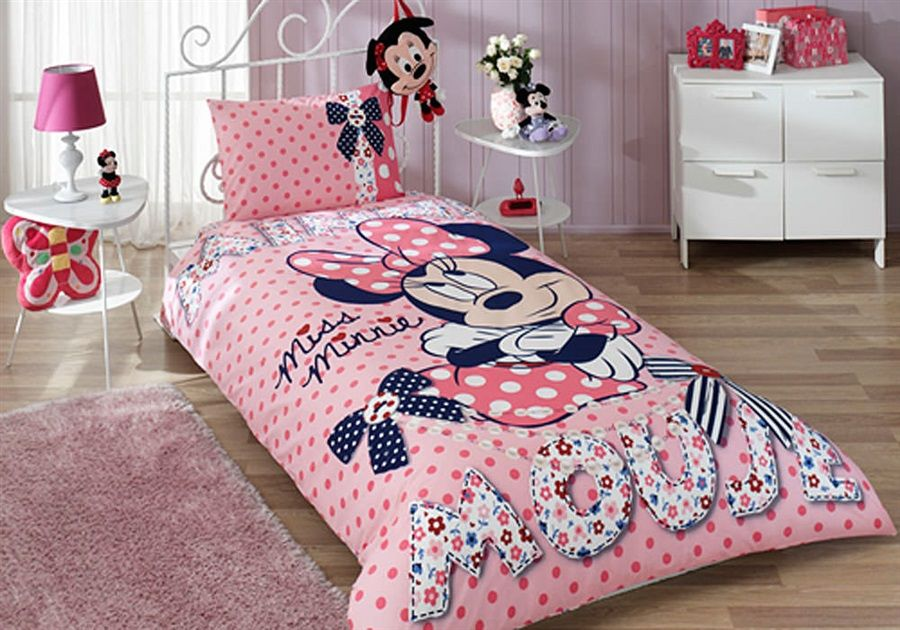 Minnie Mouse Twin Comforter Set For Teens Bedroom Dusty Pink