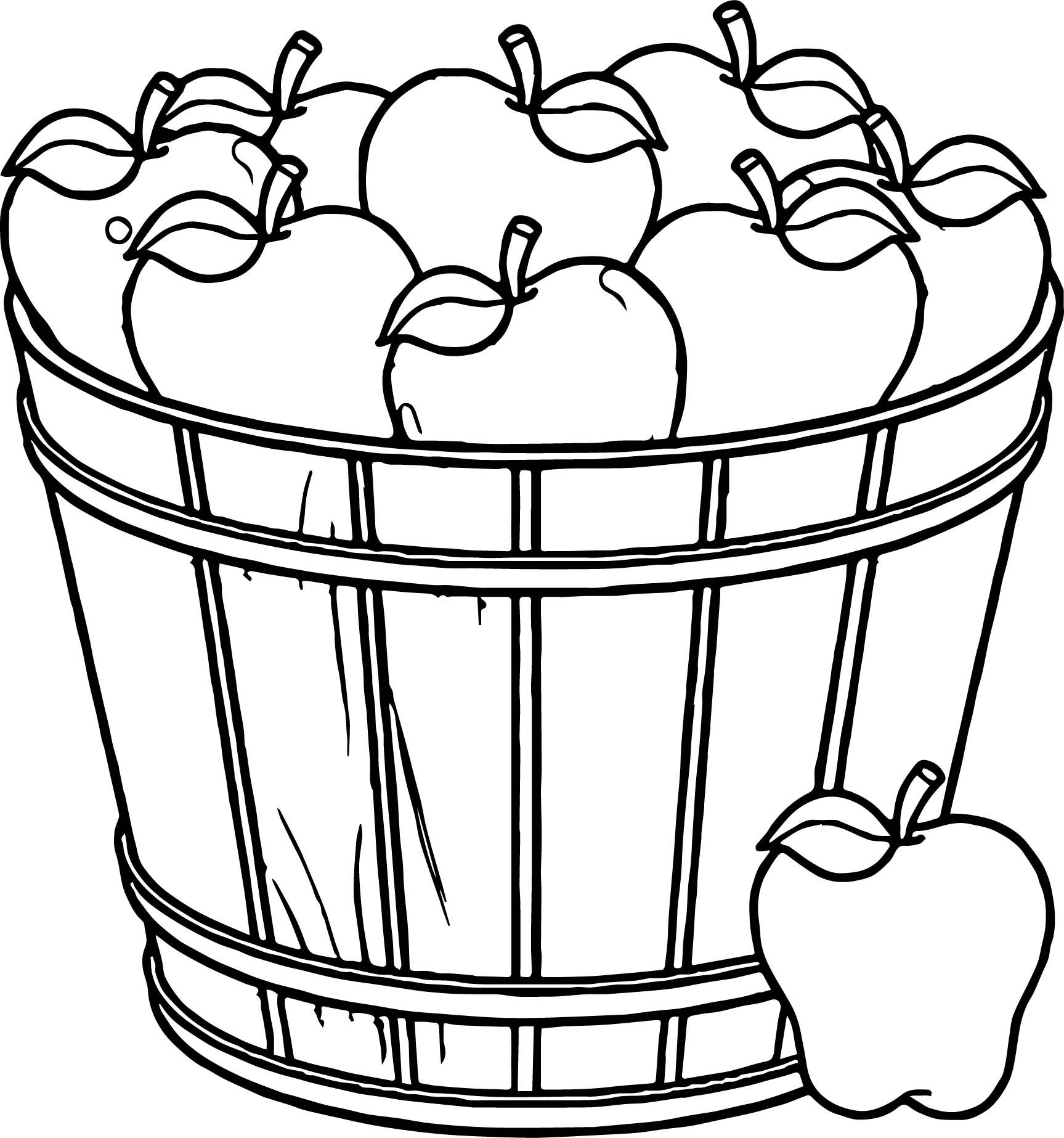 Cool Apple Basket Coloring Page