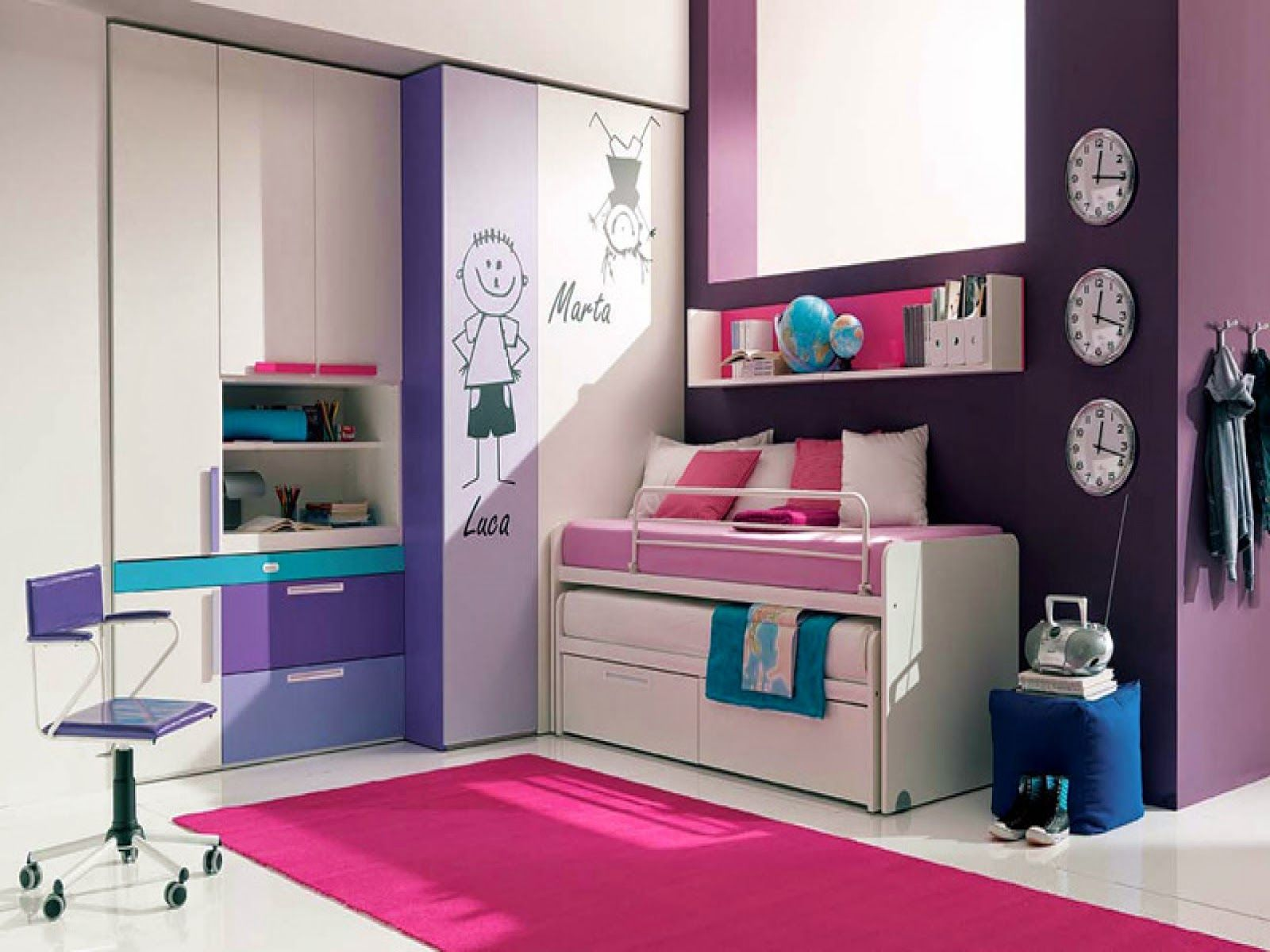 Decor for teenage bedrooms solid wood wardrobes storage cabinets