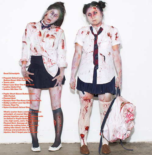 halloween costumes bloody school girl zombies - Bloody Halloween Masks