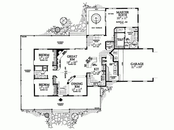 Plan With Attached Greenhouse Off Kitchen And Master Bedroom Farmhouse Style House Plans Country Style House Plans Country House Plans