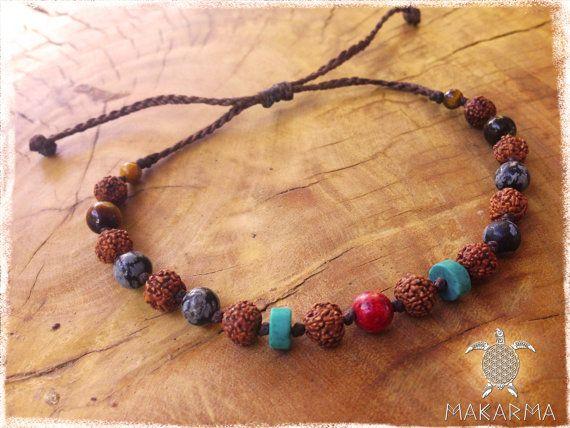 Native Bracelet India Baba Bracelet Gemstones by MaKarmaCreations