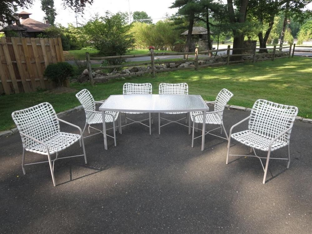Vintage Tropitone Leilani Patio Dining Table 6 Chairs Brown