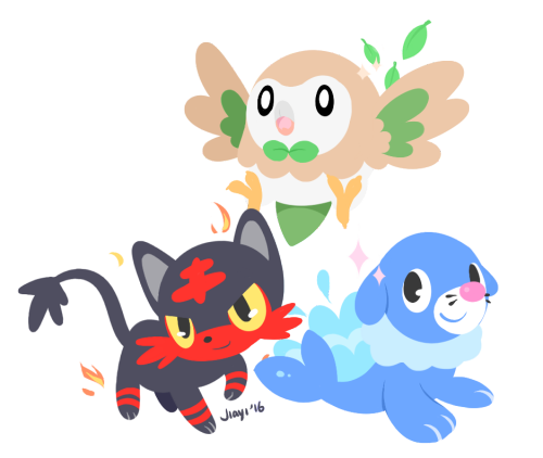 """artricahearts: """"  rowlet, litten and popplio! I can't choose between them! """""""