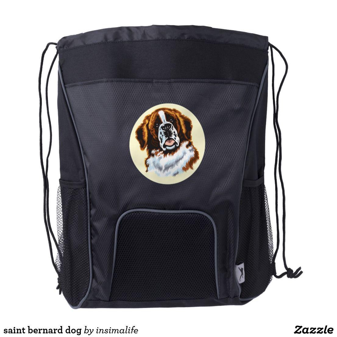 saint bernard dog drawstring backpack Drawstring
