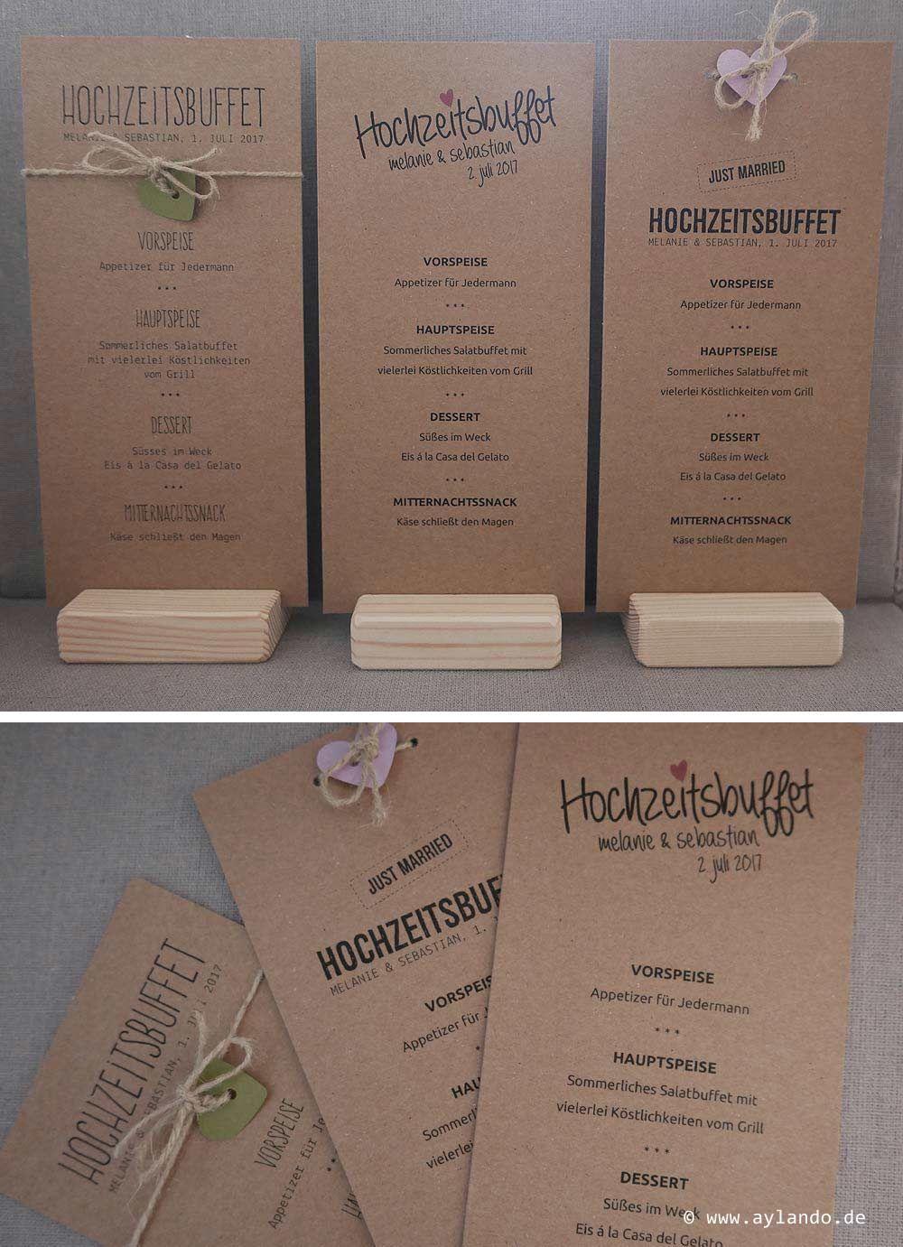 Menkarten zur Hochzeit aus Kraftpapier  diverse