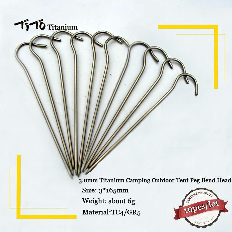 10 pz titanium lega ti tenda peg chiodo accessorio tenda di campeggio esterna puntata bend testa del gancio diameter3.0mm