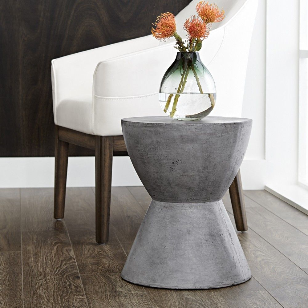 LOGAN END TABLE | ANTHRACITE GREY | A Sculptural Round End Table Designed  For Contemporary And Urban Spaces. Made Of Concrete With Each Finished  Differently ...