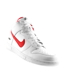 new arrival 6bb26 50ad4 Nike Store. NikeiD. White Nike Dunk high tops with red swoosh