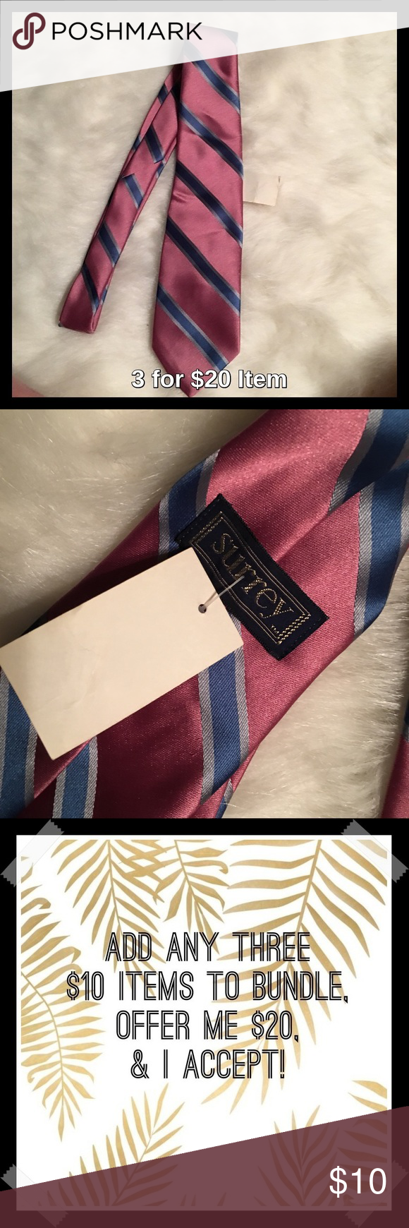 Surrey Red, Blue and Grey Striped Tie Sale! Price firm unless 3 for $20 bundled. Tie is reddish with blue and grey stripes. Surrey Accessories Ties