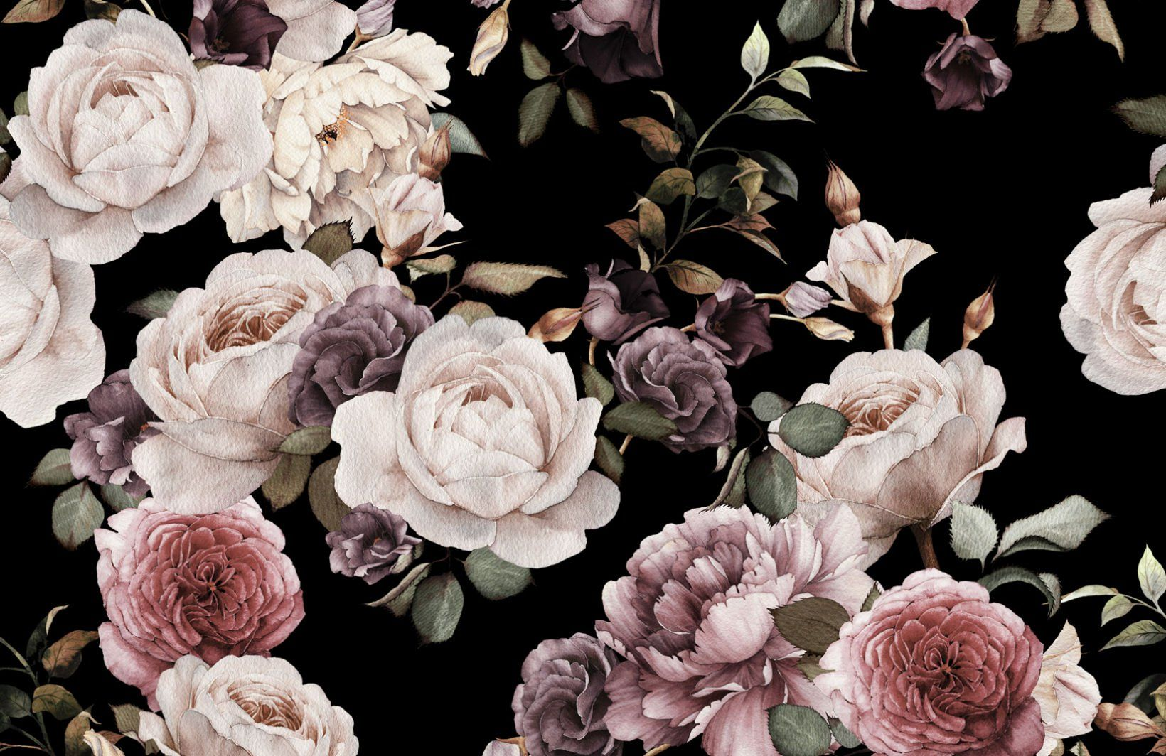 Purple And Pink Dark Floral Wall Mural Large Floral Wallpaper