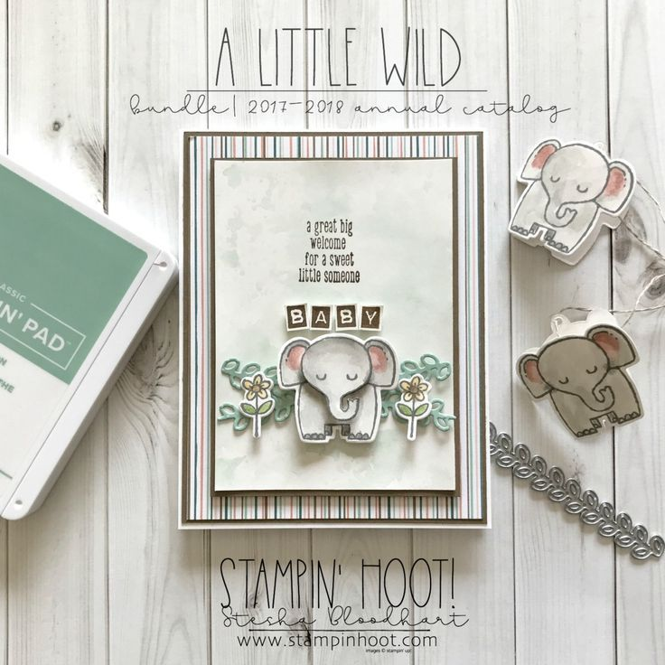 A Little Wild Elephant Baby Shower Card - #elephant #little #shower - #DecorationBabyShower #stampin#39;up!cards