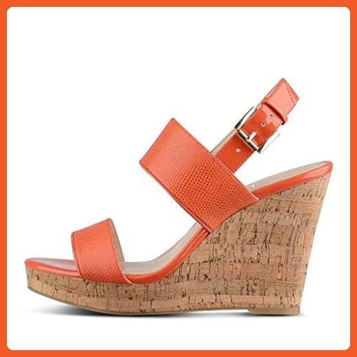 b2a1c46d926 YDN Womens Cork Heel Wedges Platform Sandals Open Toe Slingback Shoes with  Buckle Orange 15 - Sandals for women ( Amazon Partner-Link)