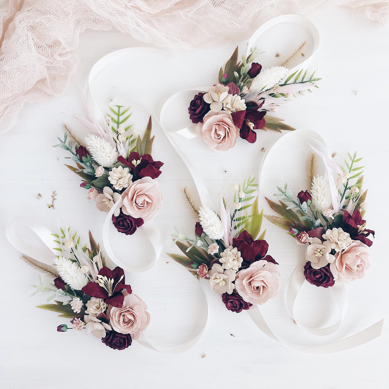 Fall Wedding Boutonniere Ideas: Flower Wrist Corsage ,Blush Burgundy Fall Wrist Corsage