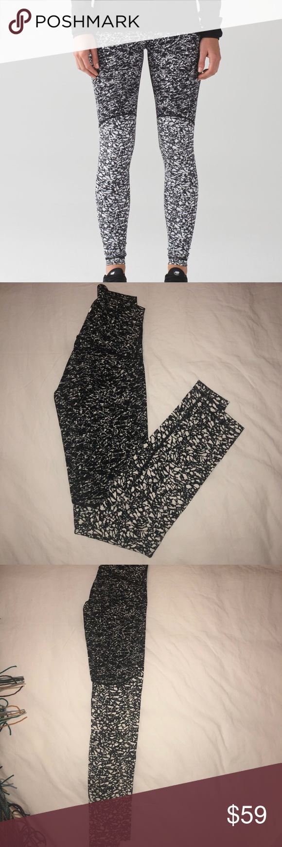 1befd29c1508c8 Lululemon Wunder Under Pant (Hi-Rise) Ice Breaker Lululemon Wunder Under  Pant (Hi-Rise). Only worn once! Like New! Ice Breaker White Black / Iced  Wave White ...