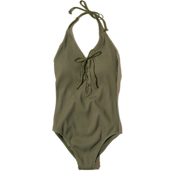 27d3d5c200e Hollister Ribbed Lace-Up Halter One-Piece Swimsuit ($50) ❤ liked on  Polyvore featuring swimwear, one-piece swimsuits, olive, olive green bathing  suit, ...