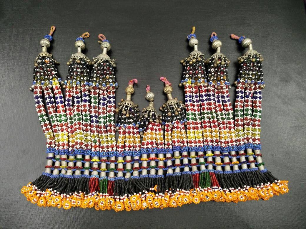 Tassel Beautiful Vintage Multicolor Beaded Tassel DIY Bohemian Jewelry Belly Dancing Costume Supply Tribal Kuchi Tassel Afghan Dress Bags.