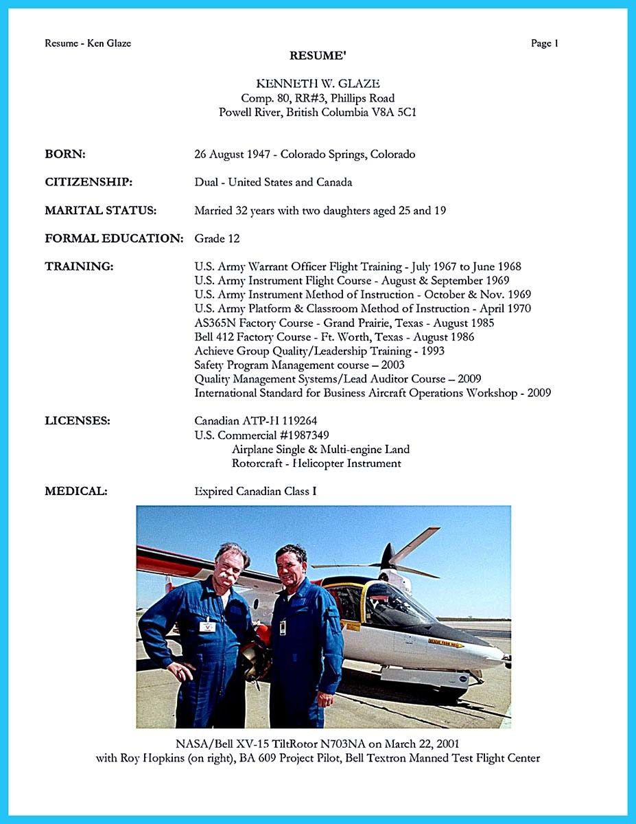 Pilot Resume - Resume Sample