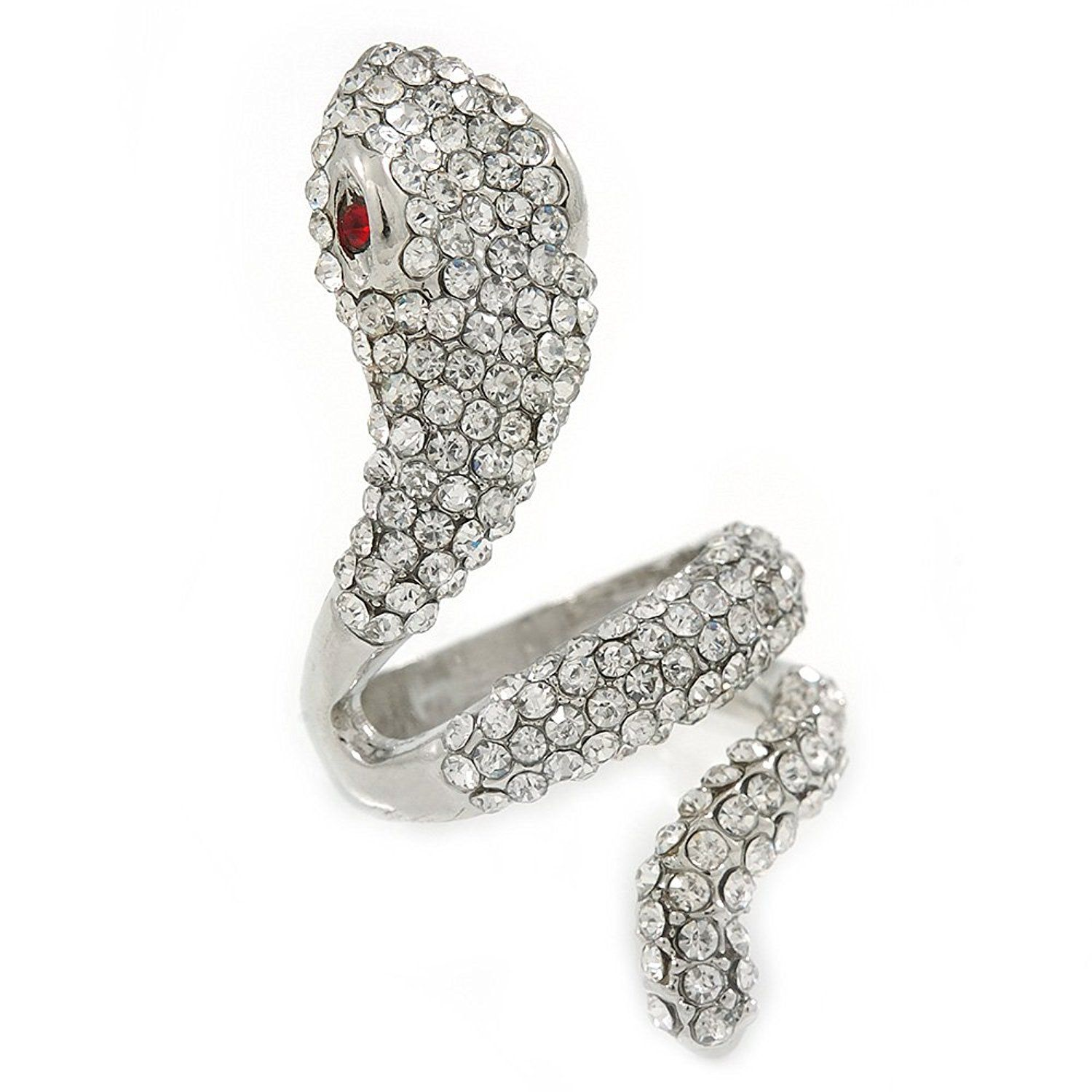 Wide Grey Austrian Crystal 'Coiled Snake' Double Band Ring In Rhodium Plating - 50mm Width - Size 8 vcaRZ04Br